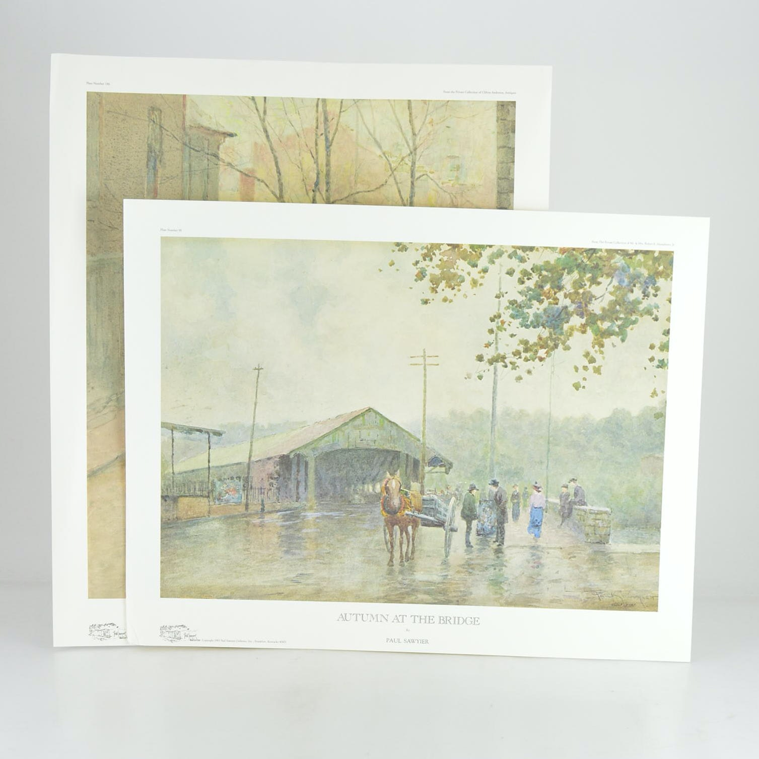 """Paul Sawyier Limited Edition Prints """"A Rainy Day"""" and """"Autumn at the Bridge"""""""