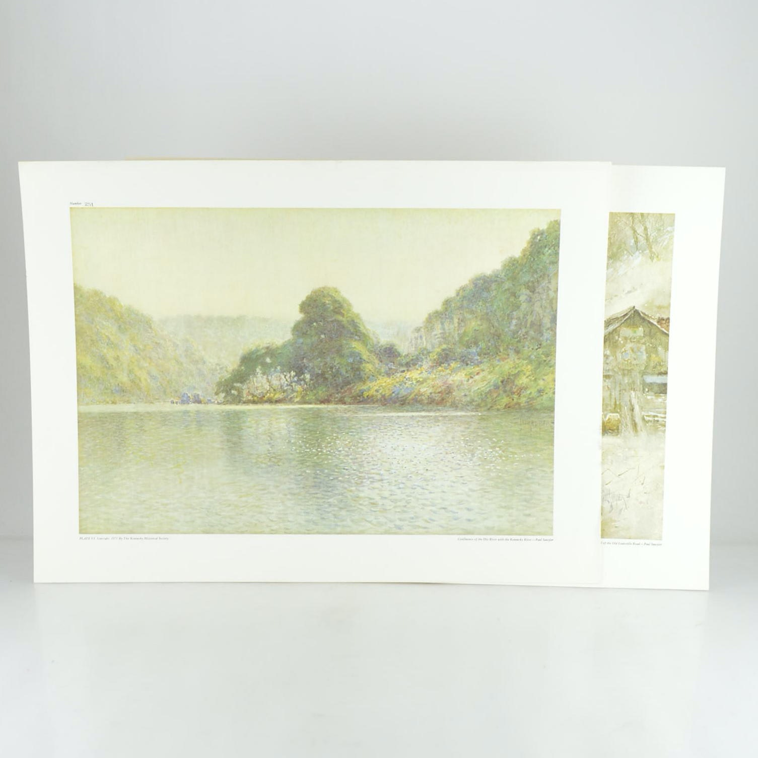 """Paul Sawyier Prints """"Confluence of the Dix River with the Kentucky River"""" and """"Up the Hill of the Old Louisville Road"""""""