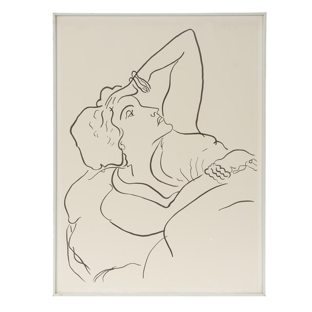 Original Modernist Ink Line Drawing of a Woman