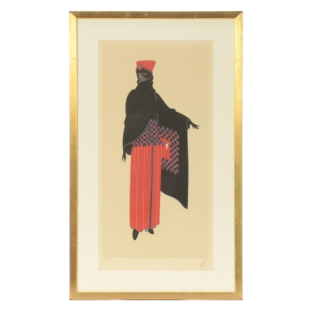 """Erté Signed Limited Edition Fashion Lithograph """"Black Rose"""""""