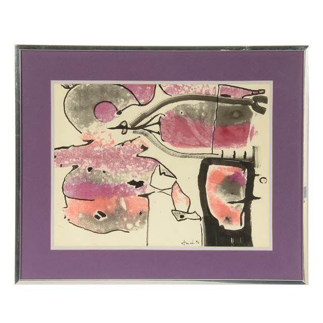 """François Arnal Original 1956 Oil & Ink on Paper """"L'homme d'Amethyste"""""""