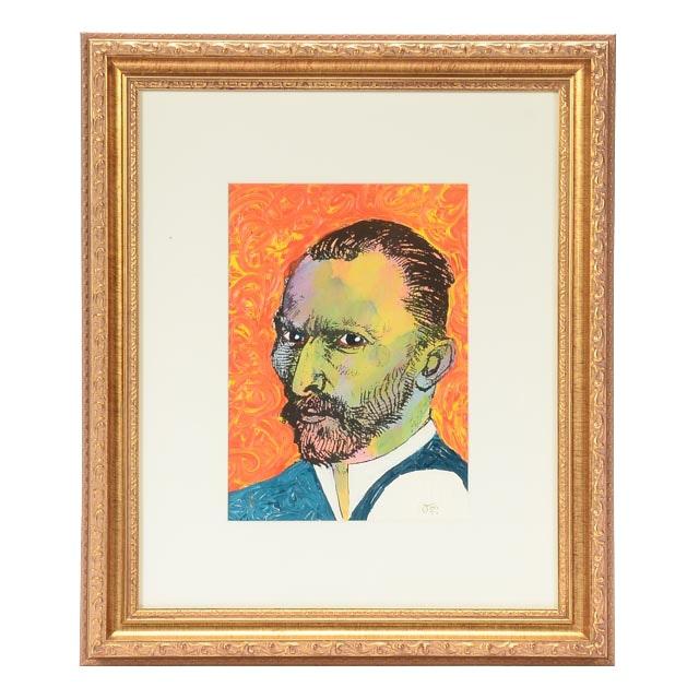 Original Mixed Media Limited Edition Portrait of Van Gogh