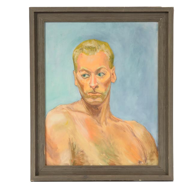 Mid-20th Century WPA-Style Oil Portrait on Board