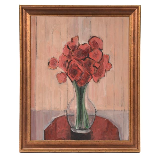 Roland Huston Attributed Oil on Canvas Floral Still Life