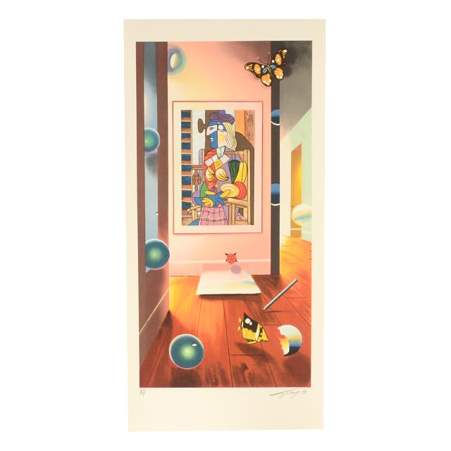 """Ferjo Signed Artist's Proof Hand-Pulled Lithograph """"Cubist Room"""""""