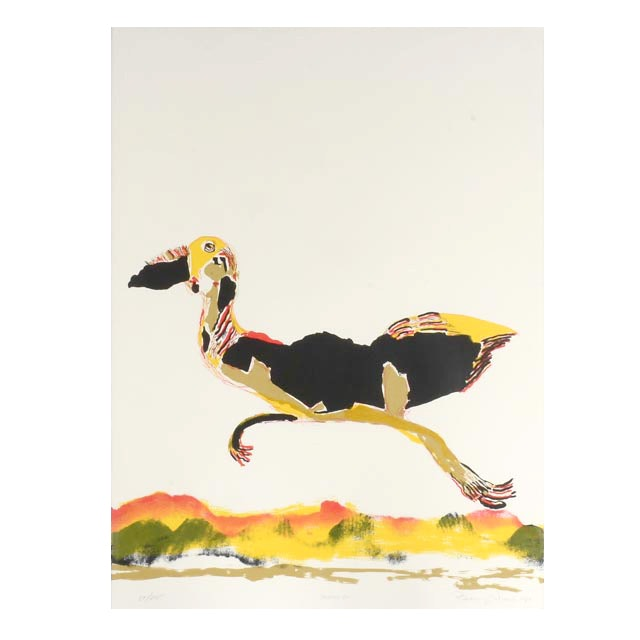 """Benny Andrews Signed Limited Edition Hand-Pulled 1980 Color Lithograph """"Moving On"""""""