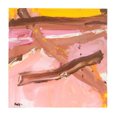 "Robbie Kemper Original Acrylic Painting on Canvas ""Pink, Brown, Yellow"""