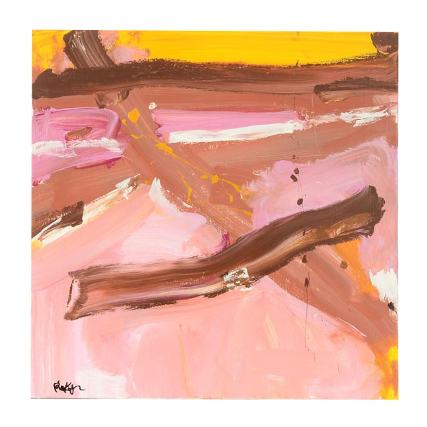 """Robbie Kemper Original Acrylic Painting on Canvas """"Pink, Brown, Yellow"""""""