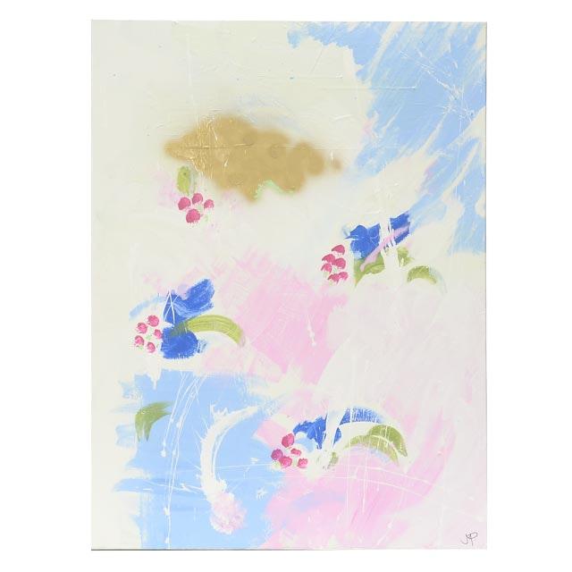 "Robbie Kemper Original Mixed Media Painting ""Magenta Dots"""