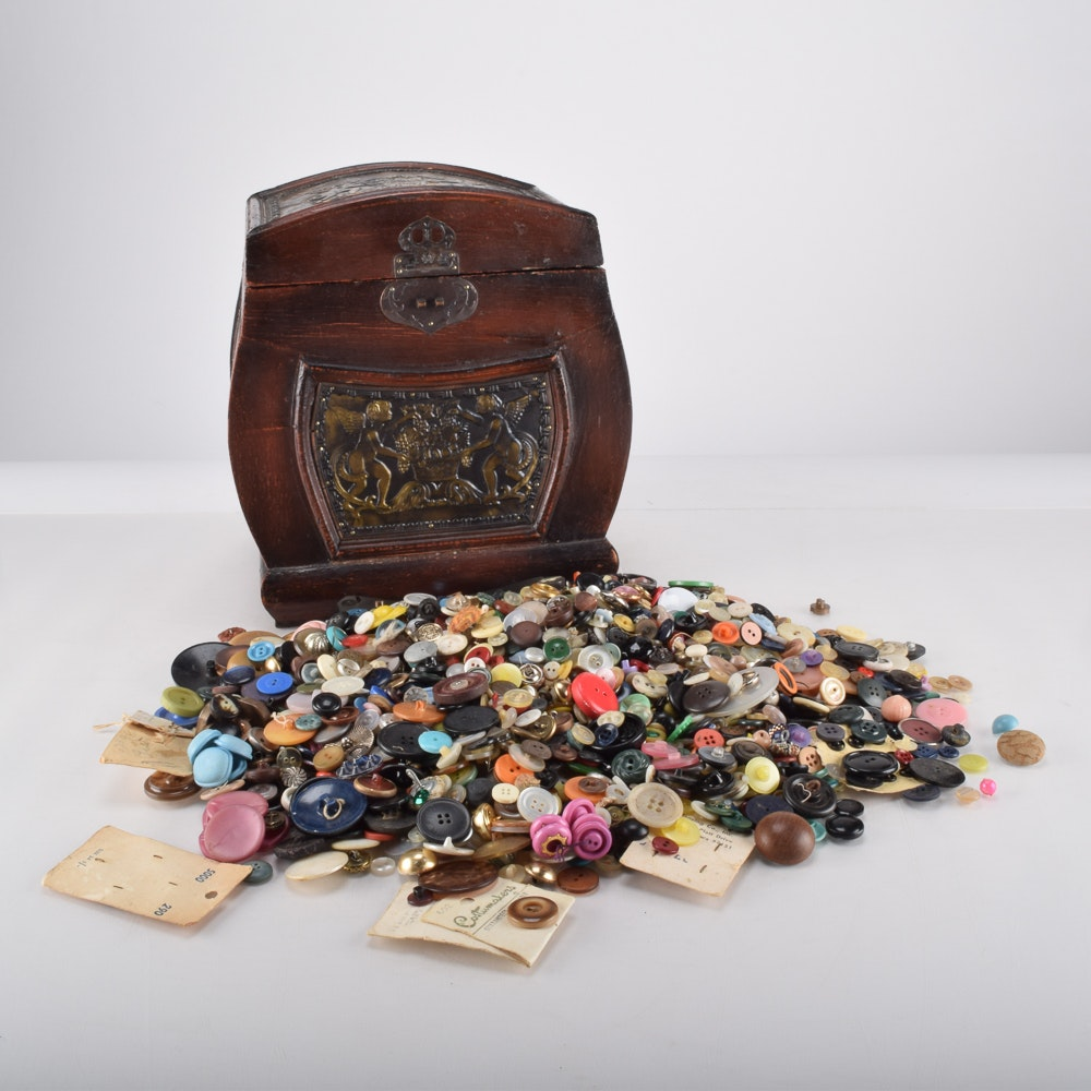 Box of Vintage and Antique Buttons