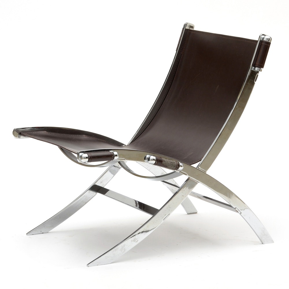 Chrome and Leather Scissor Chair After Paul Tuttle