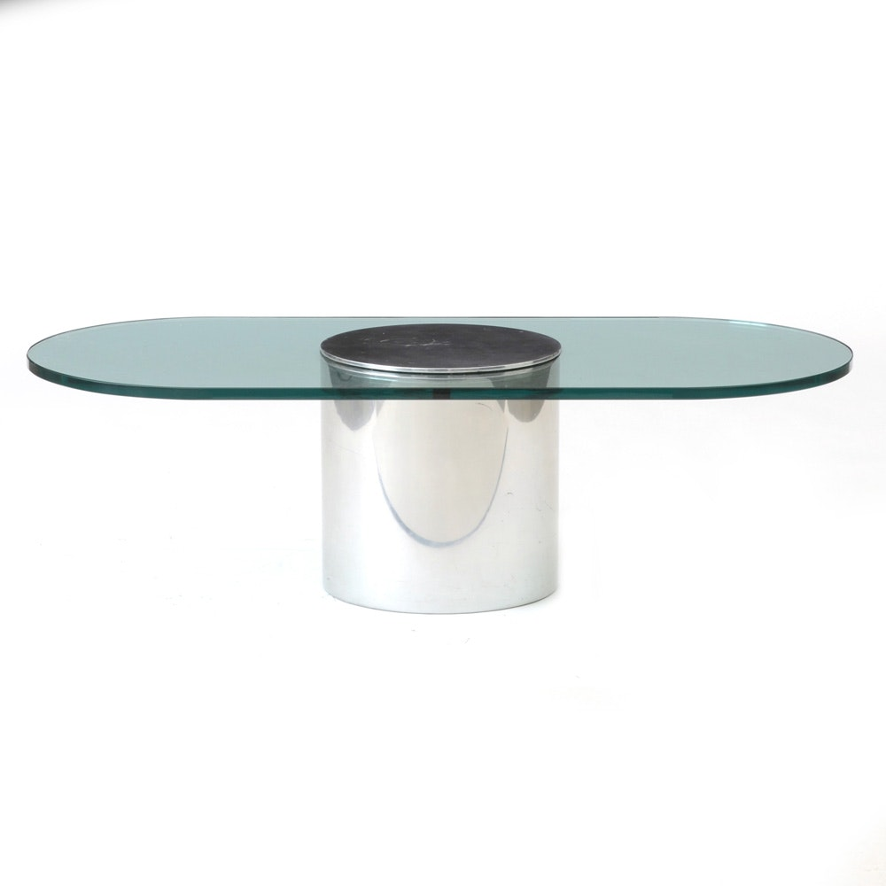 Paul Mayen for Habitat Glass and Chrome Coffee Table