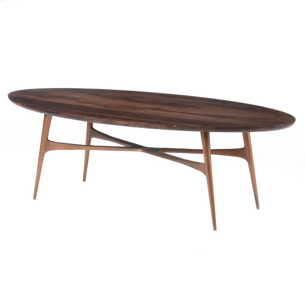 Mid Century Modern Oval Walnut Coffee Table