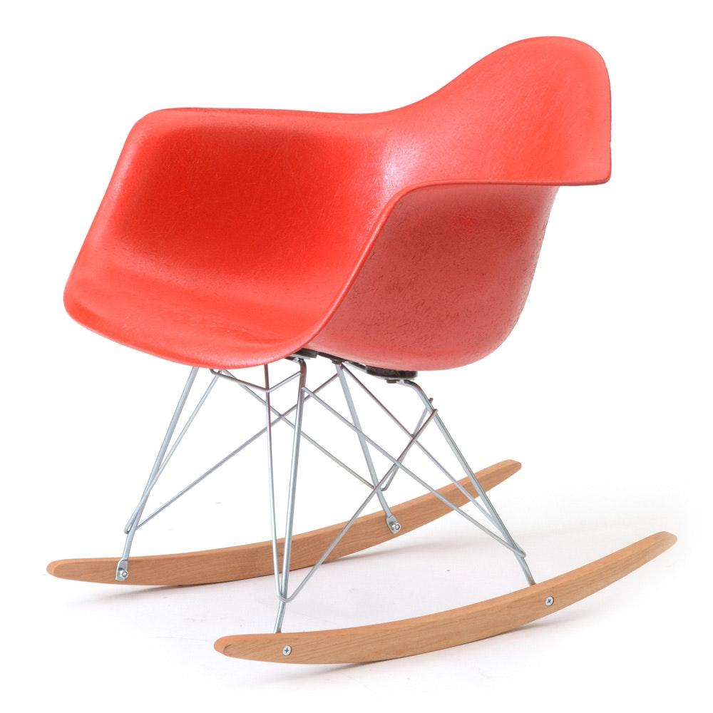 Herman Miller Eames Style Fiberglass Rocking Armchair