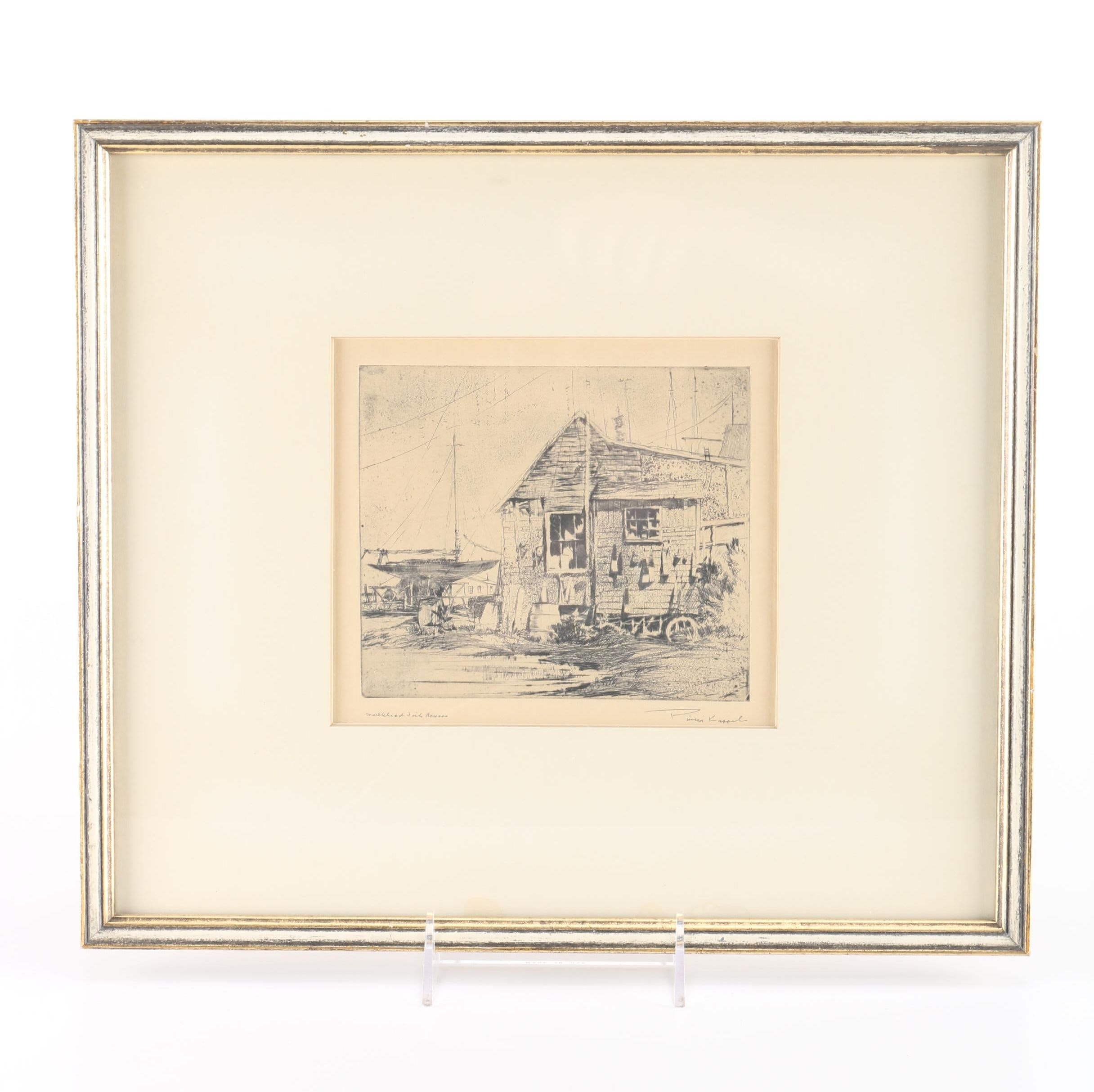 "Philip Kappel Etching with Aquatint ""Marblehead Fish Houses"""