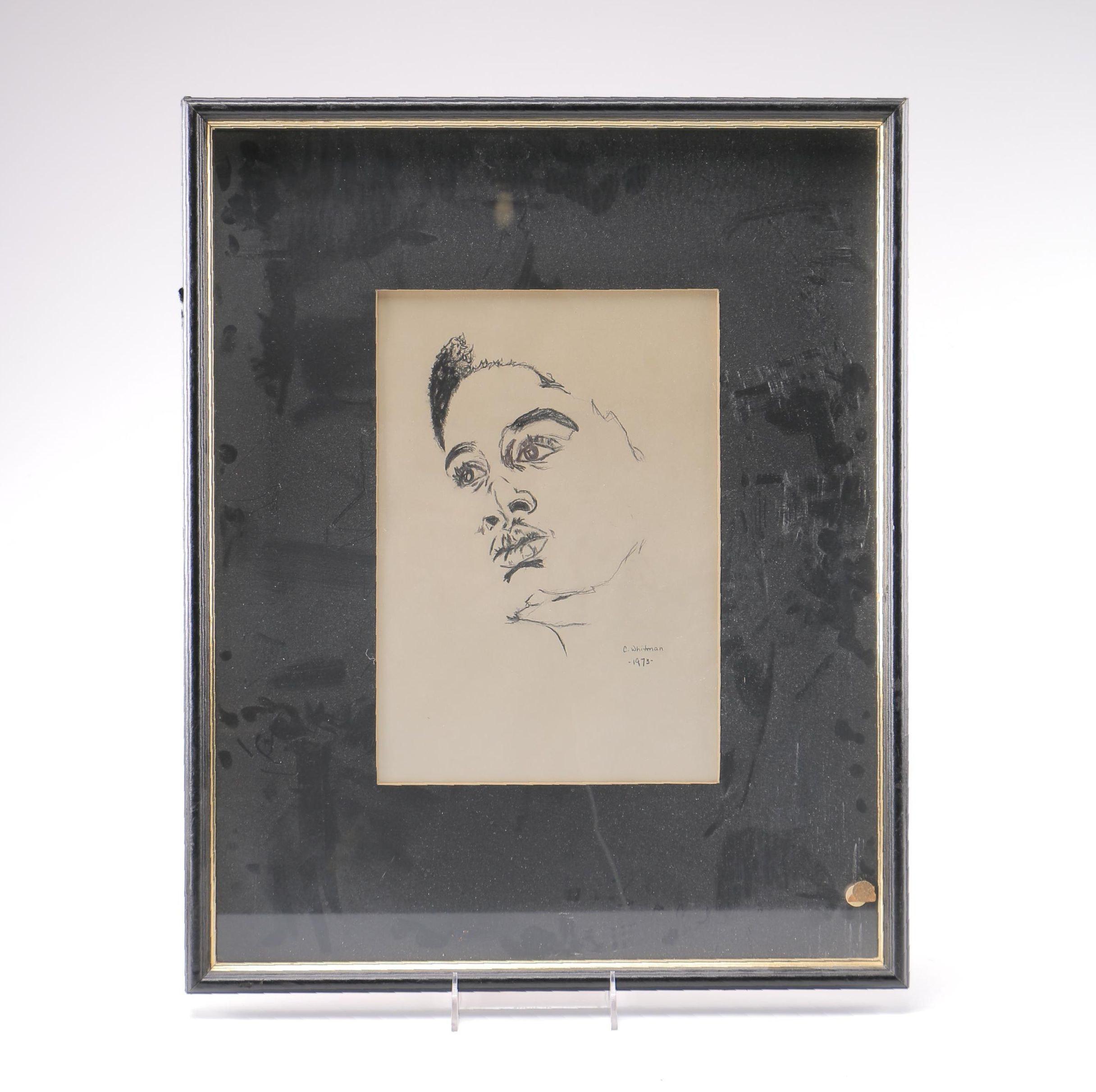 C. Whitman Charcoal Sketch of Woman's Profile