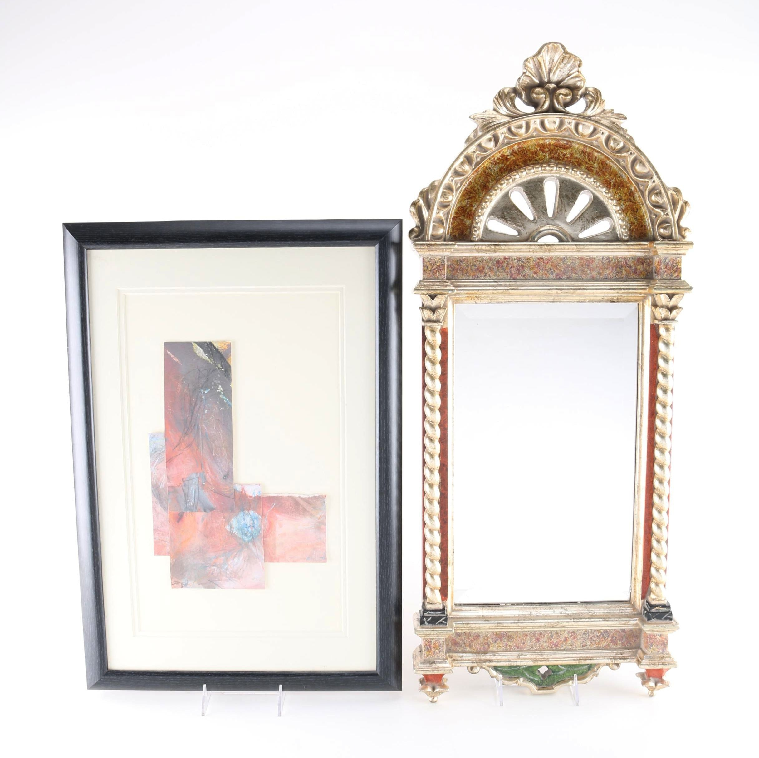 """Palma"" Wall Mirror by Bombay With Mixed Media Abstract Art"