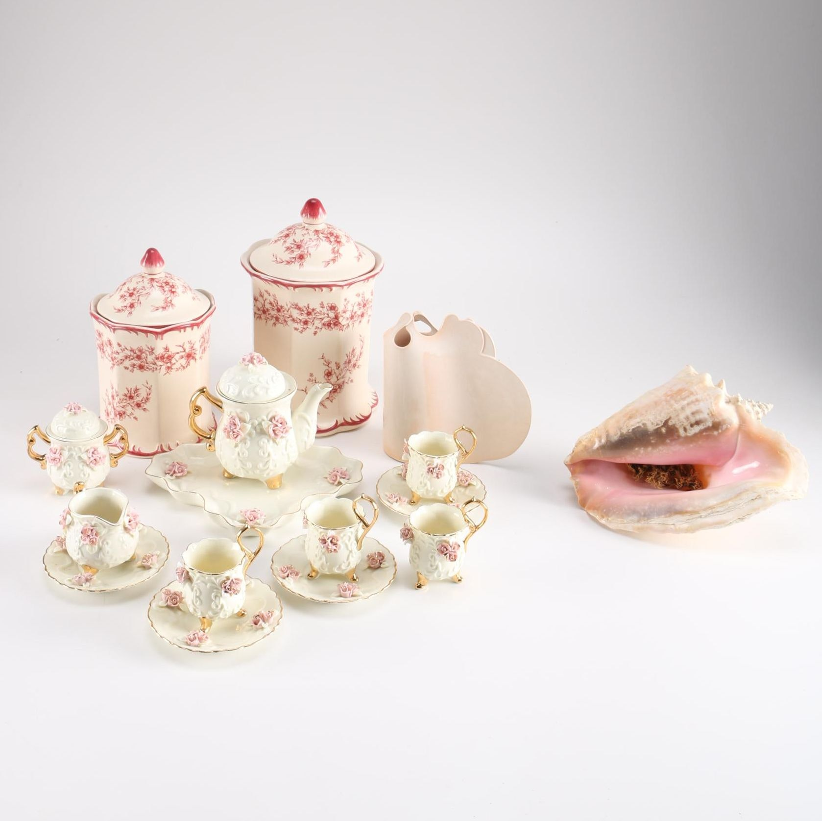 Ceramic Pink Rose Tea Set and More