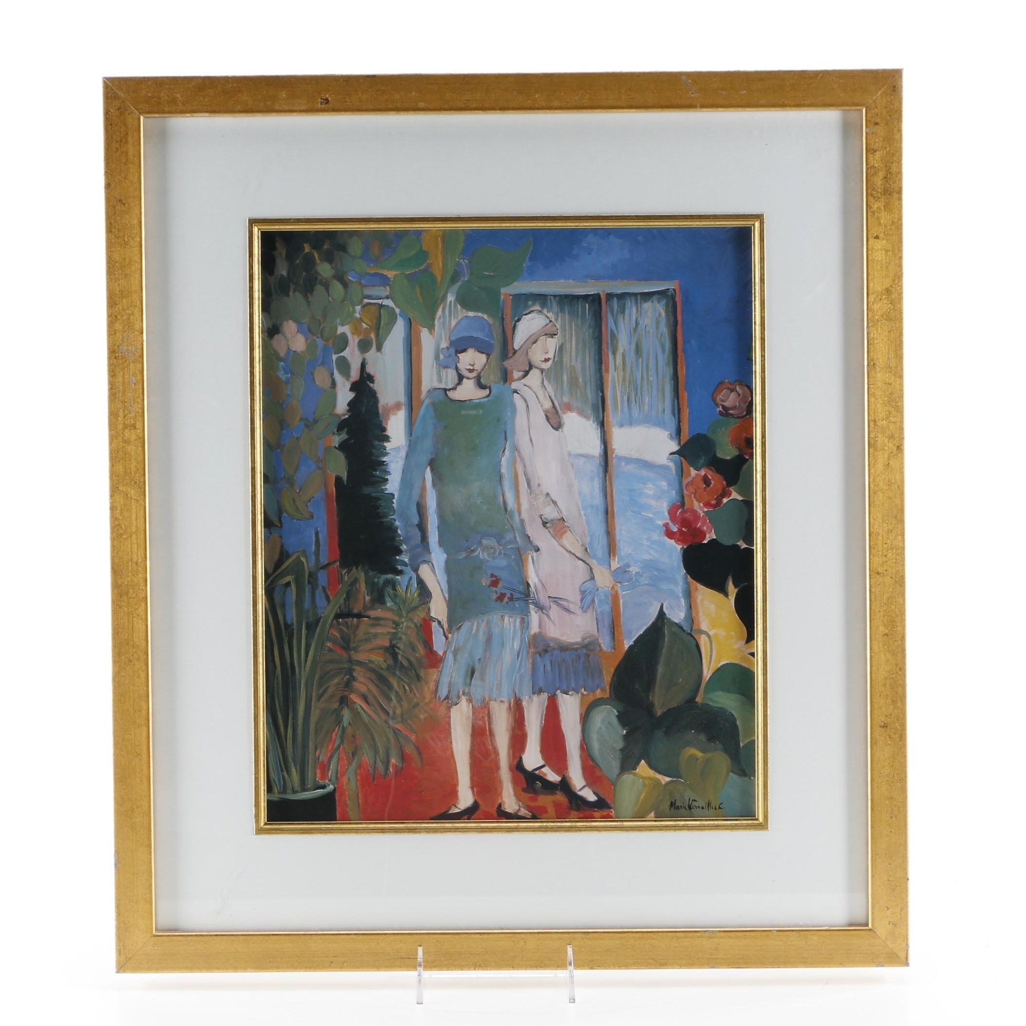 After Marie Versailles Offset Lithograph Depicting Two Flappers