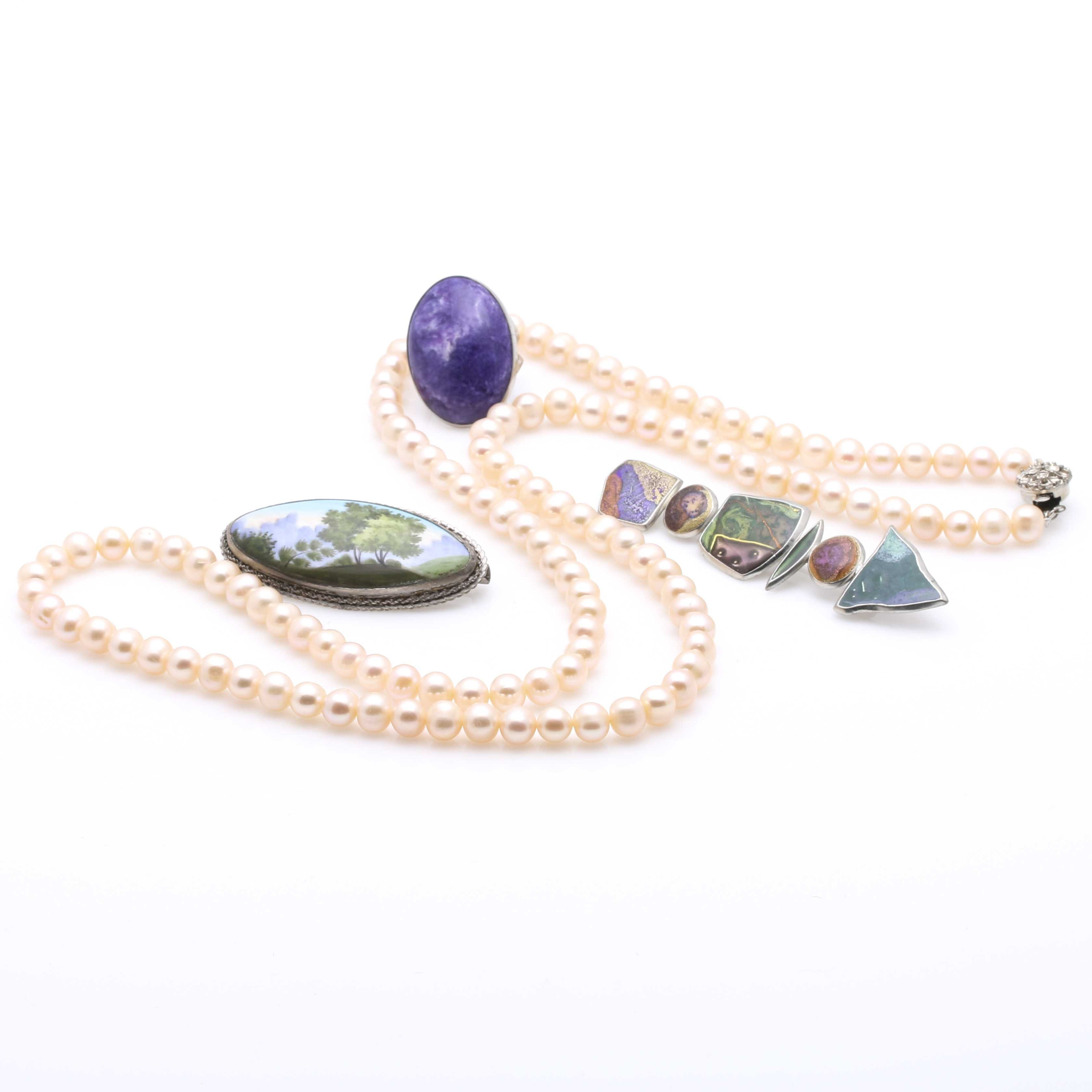 Silver Tone Charoite and Pearl Jewelry
