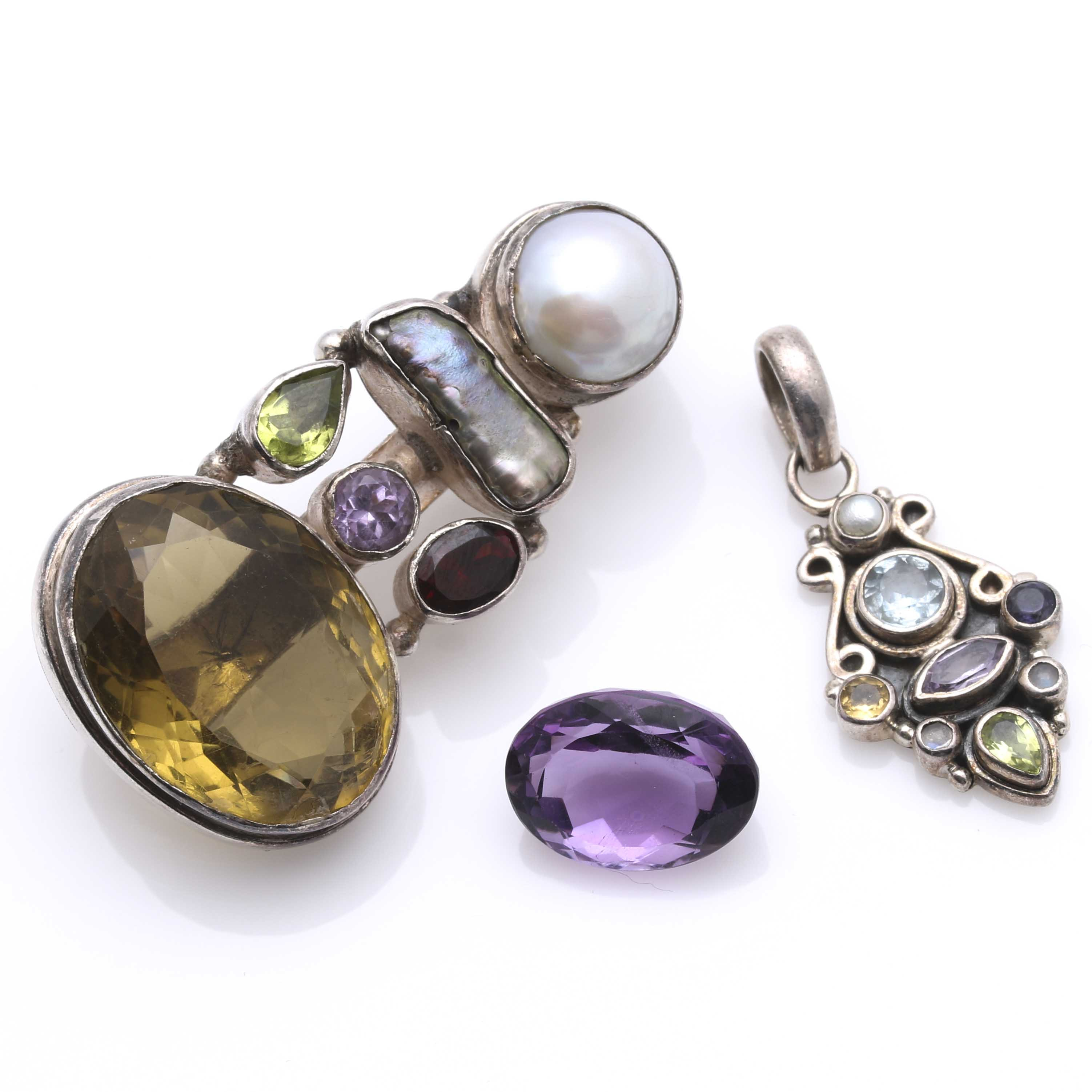 Sterling Silver Pearl and Gemstone Pendants and Loose Amethyst Gemstone