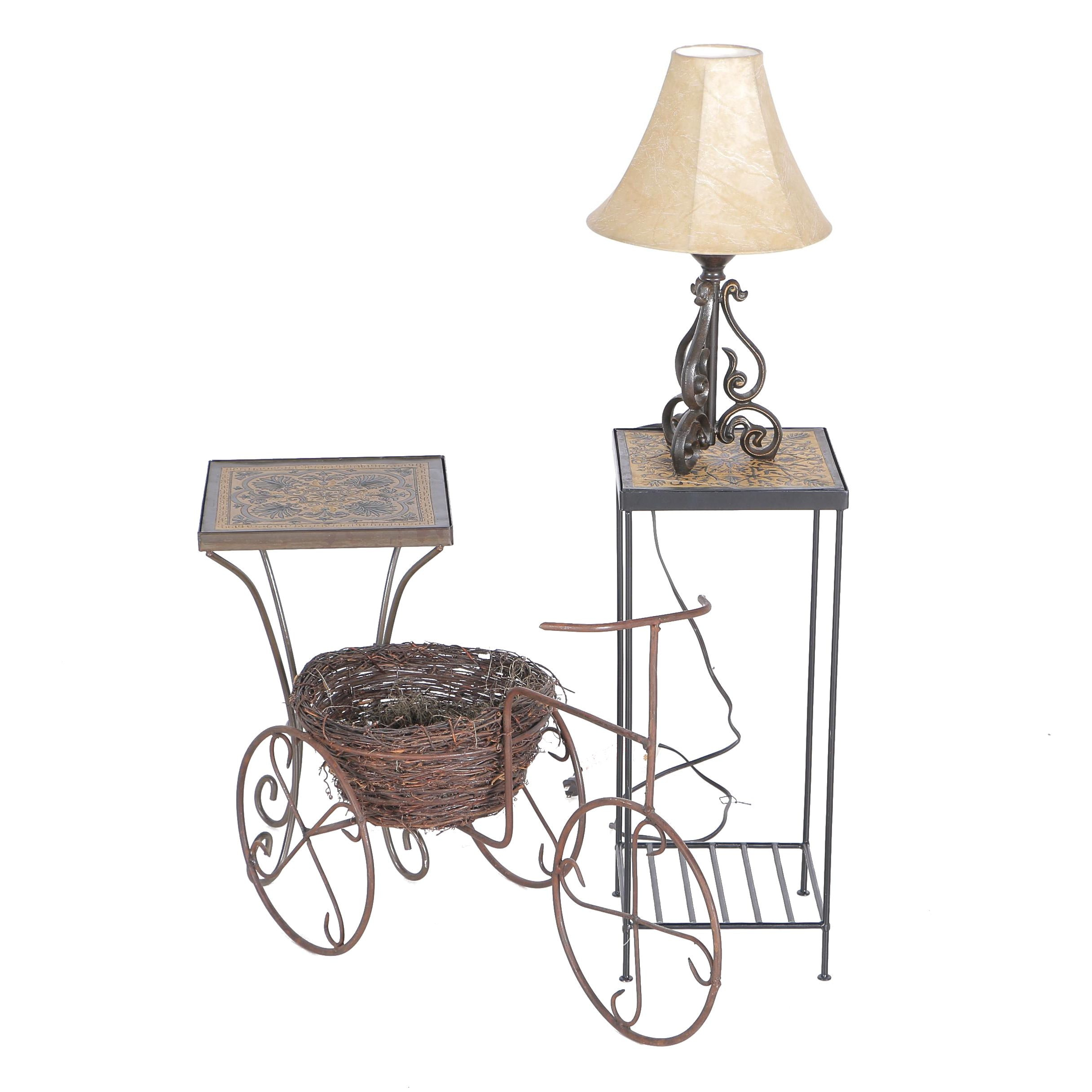 Wrought Iron Tables, Lamp and Garden Decor