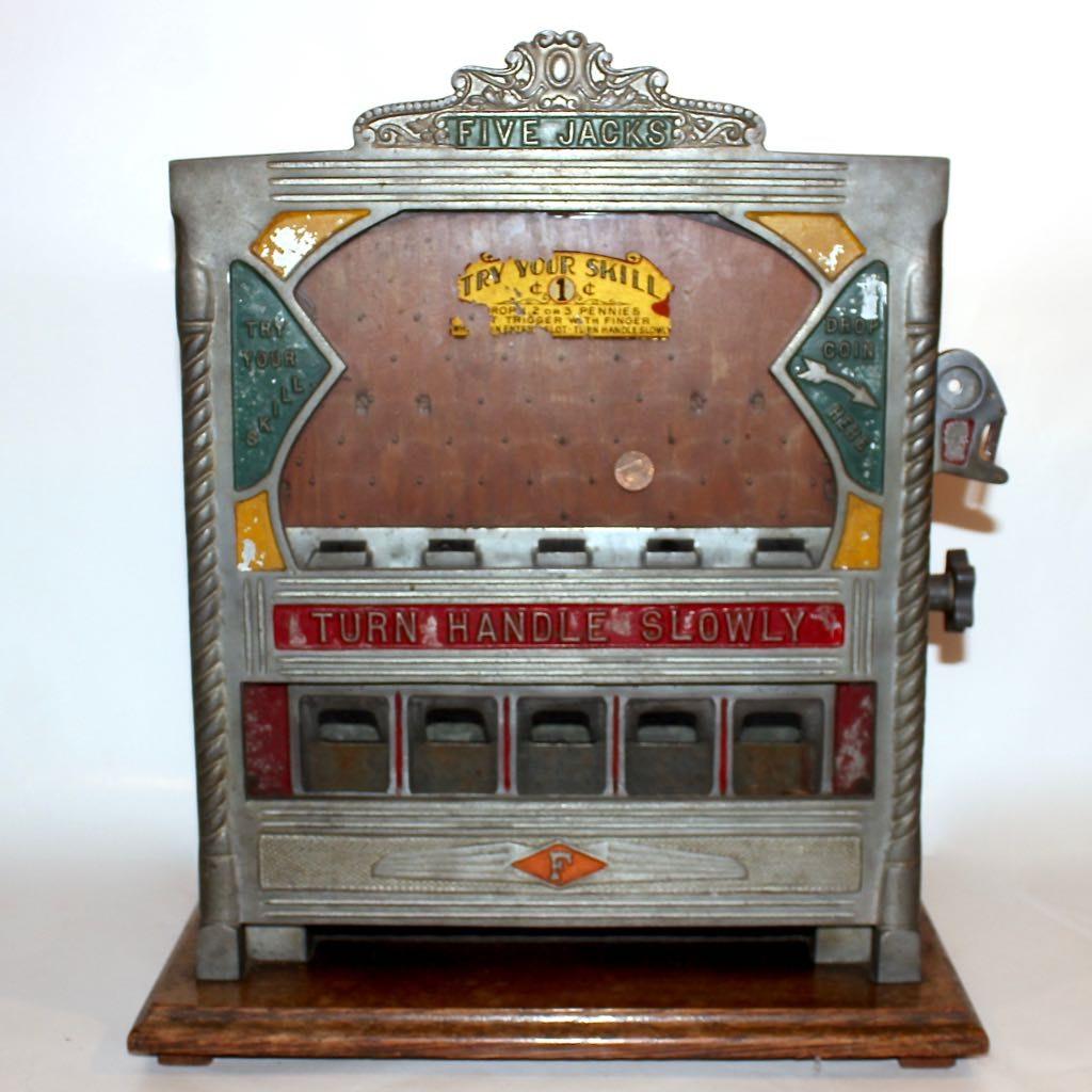 "1930s ""Five Jacks"" Penny Drop Gambling Trade Stimulator"