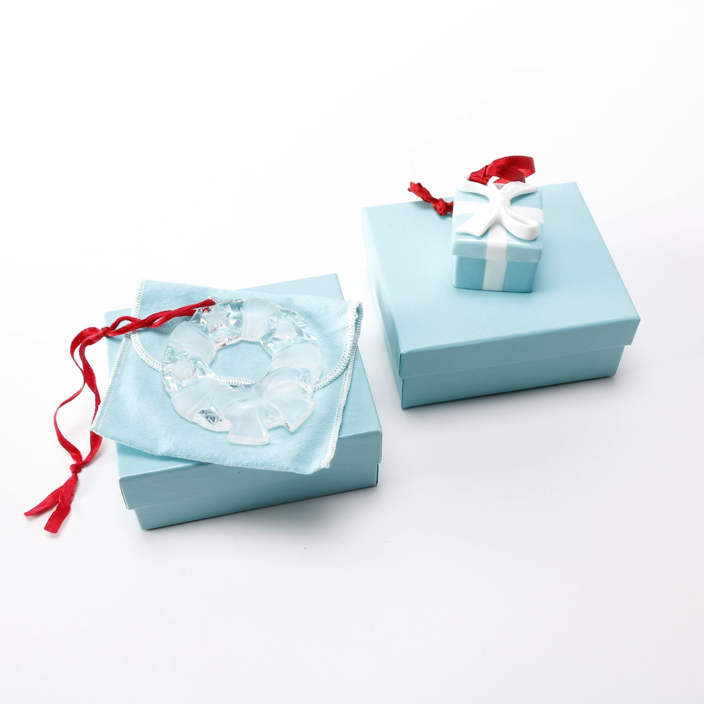 Tiffany & Co. Ornaments Including Porcelain Box and Crystal Wreath