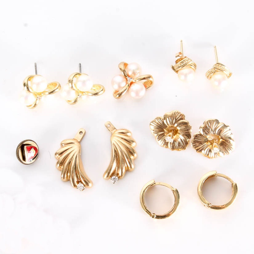 Variety of 14K and 18K Gold, Pearl and Enamel Jewelry