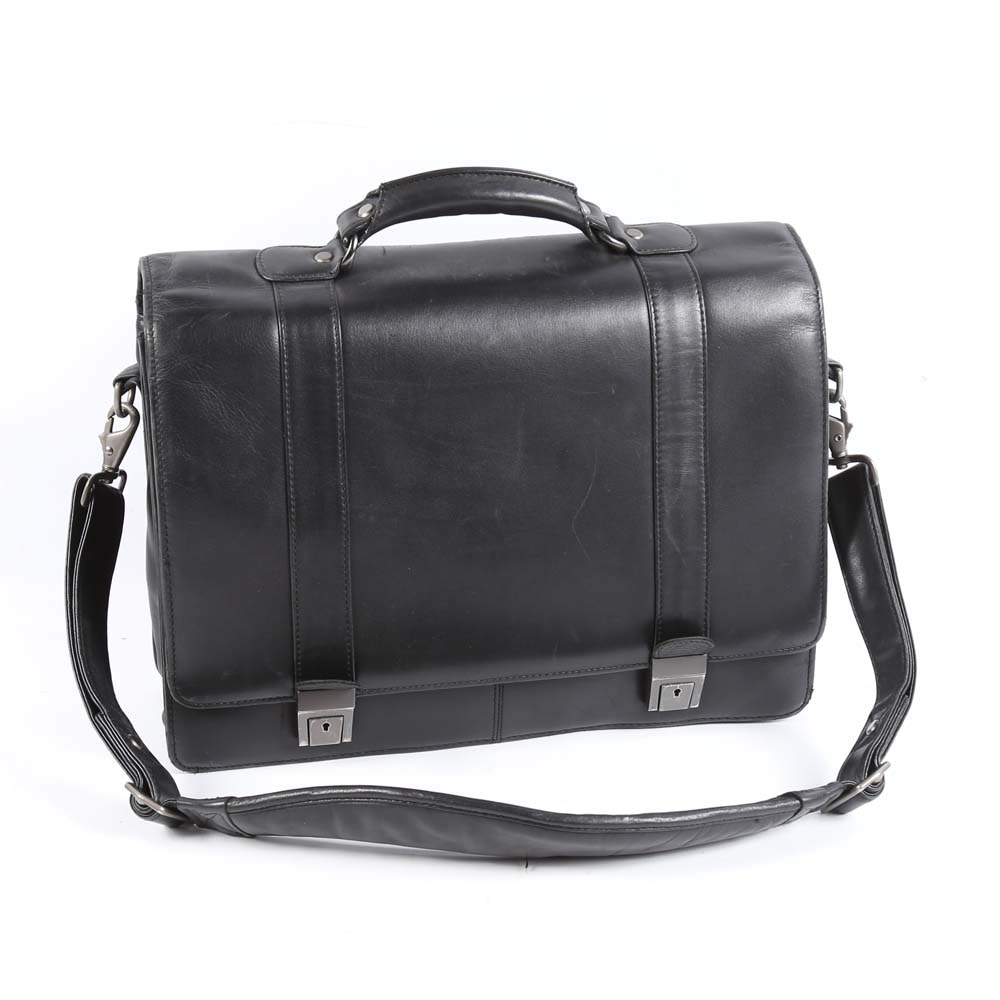 Black Leather Brookstone Briefcase