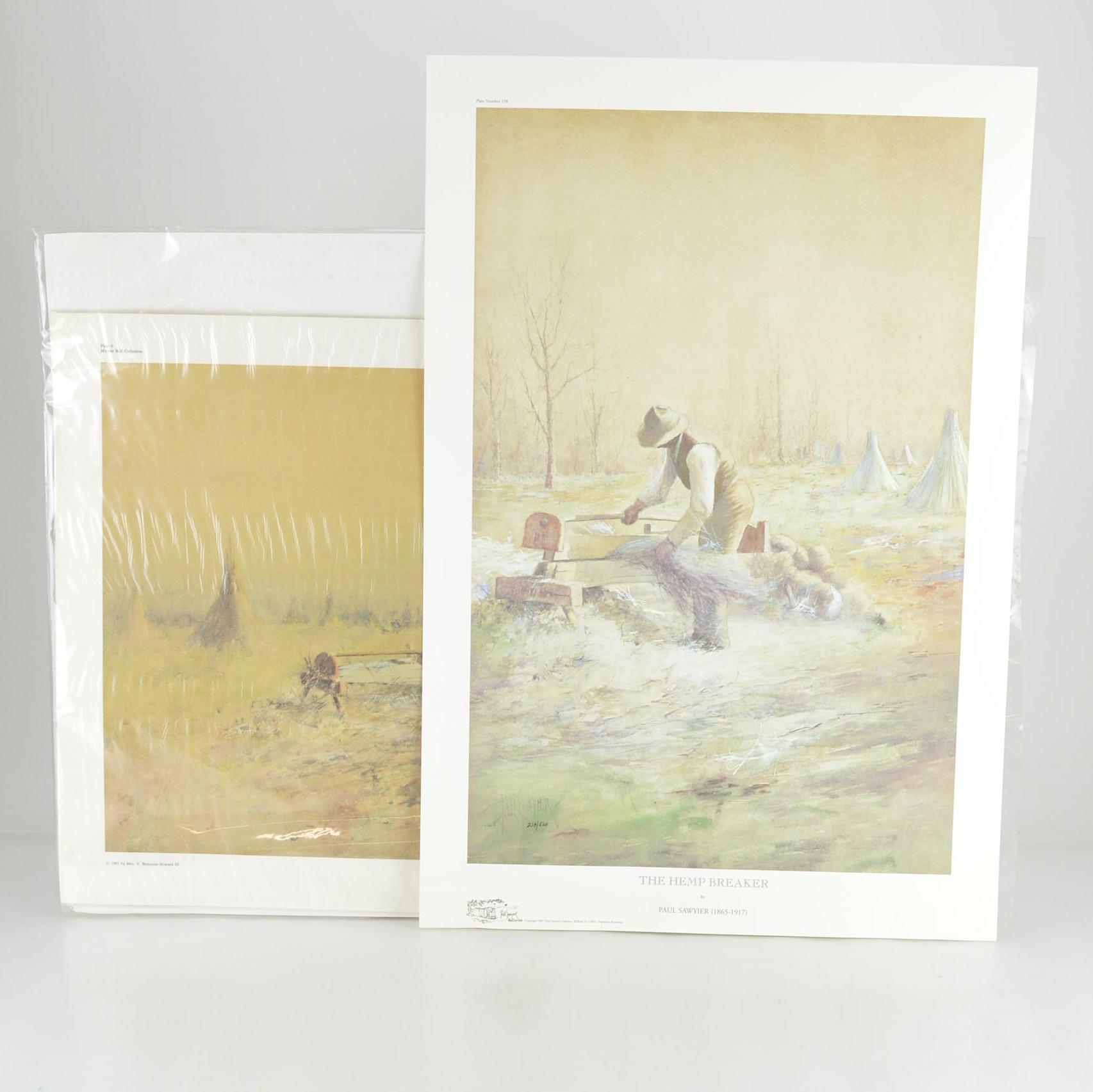 "Paul Sawyier Limited Edition Prints ""Hemp Harvest"" and ""The Hemp Breaker"""