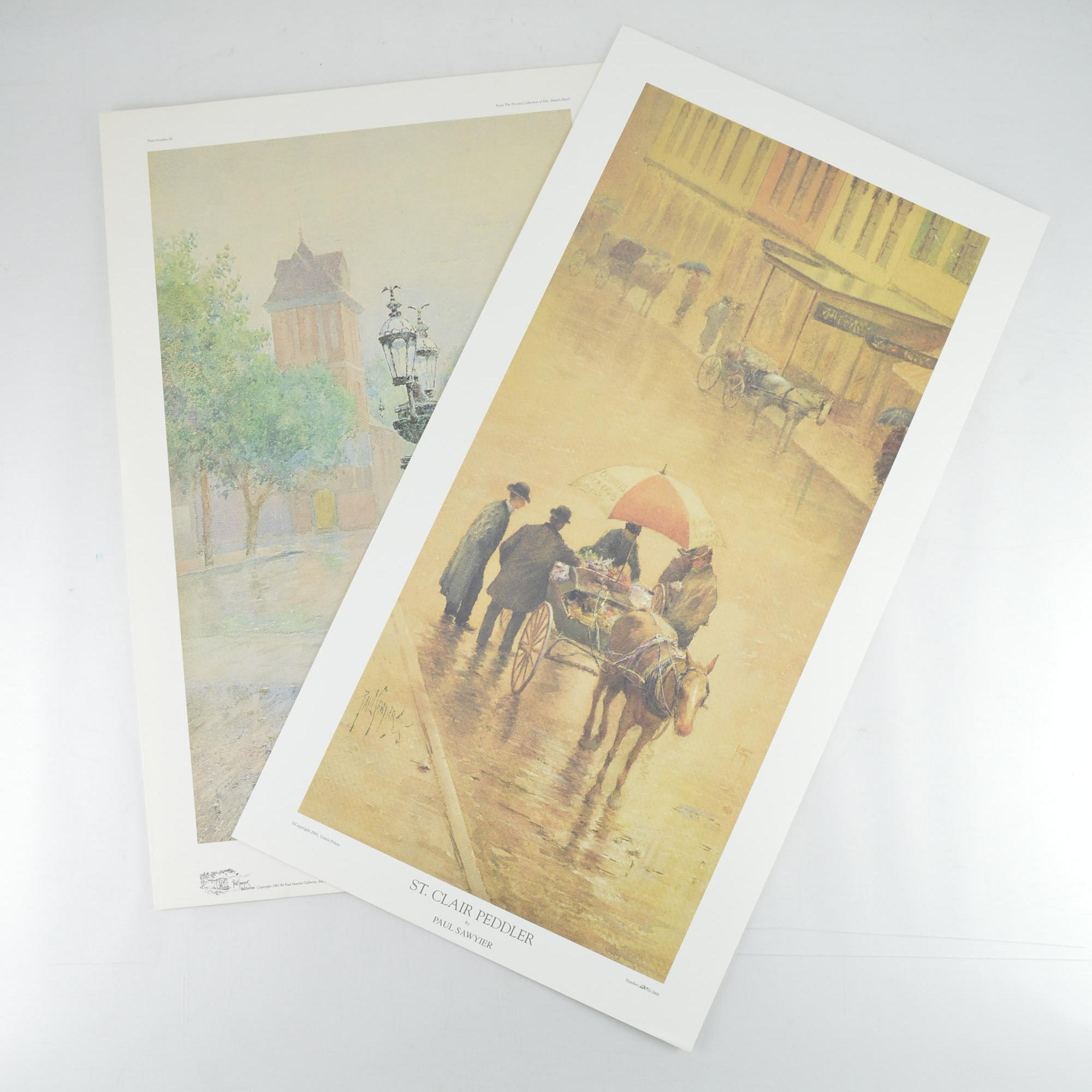 """Paul Sawyier Limited Edition Prints """"Wapping Street Reflections"""" and """"St. Clair Peddler"""""""