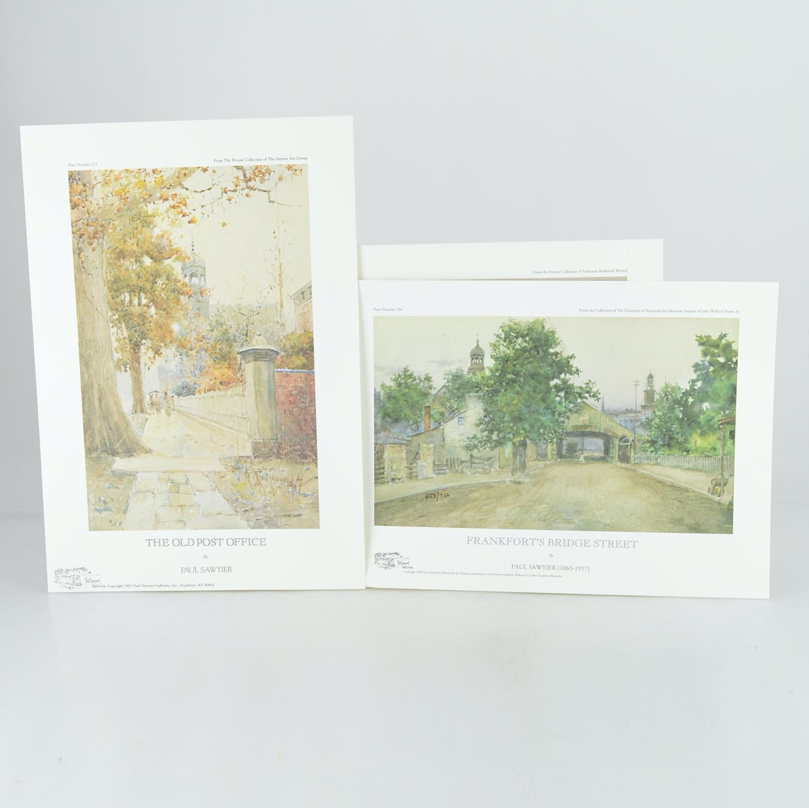 """Paul Sawyier Limited Edition Prints """"Frankfort's Bridge Street"""", """"Frankfort's Main Street"""", and """"The Old Post Office"""""""