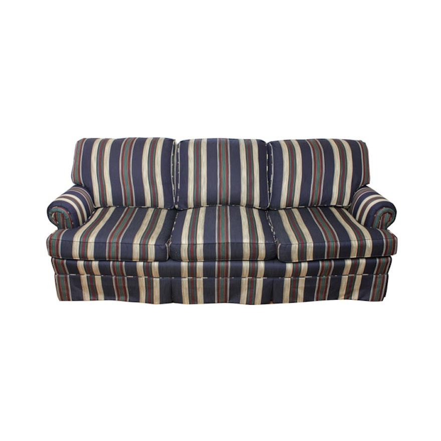 King Hickory Blue Striped Sofa : EBTH
