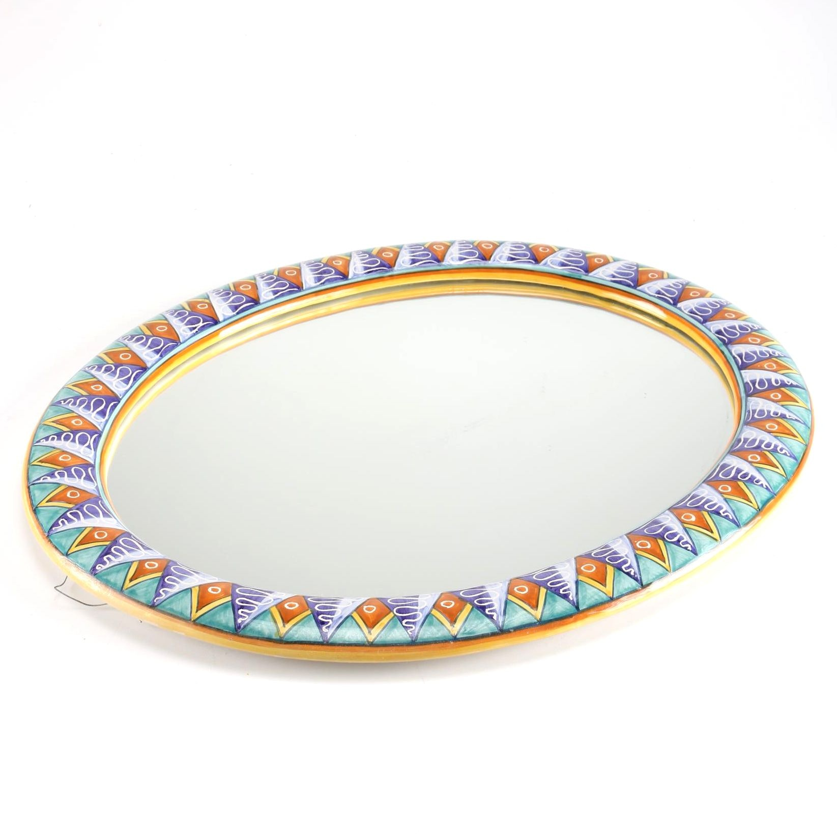 Hand-Painted Ceramic Wall Mirror
