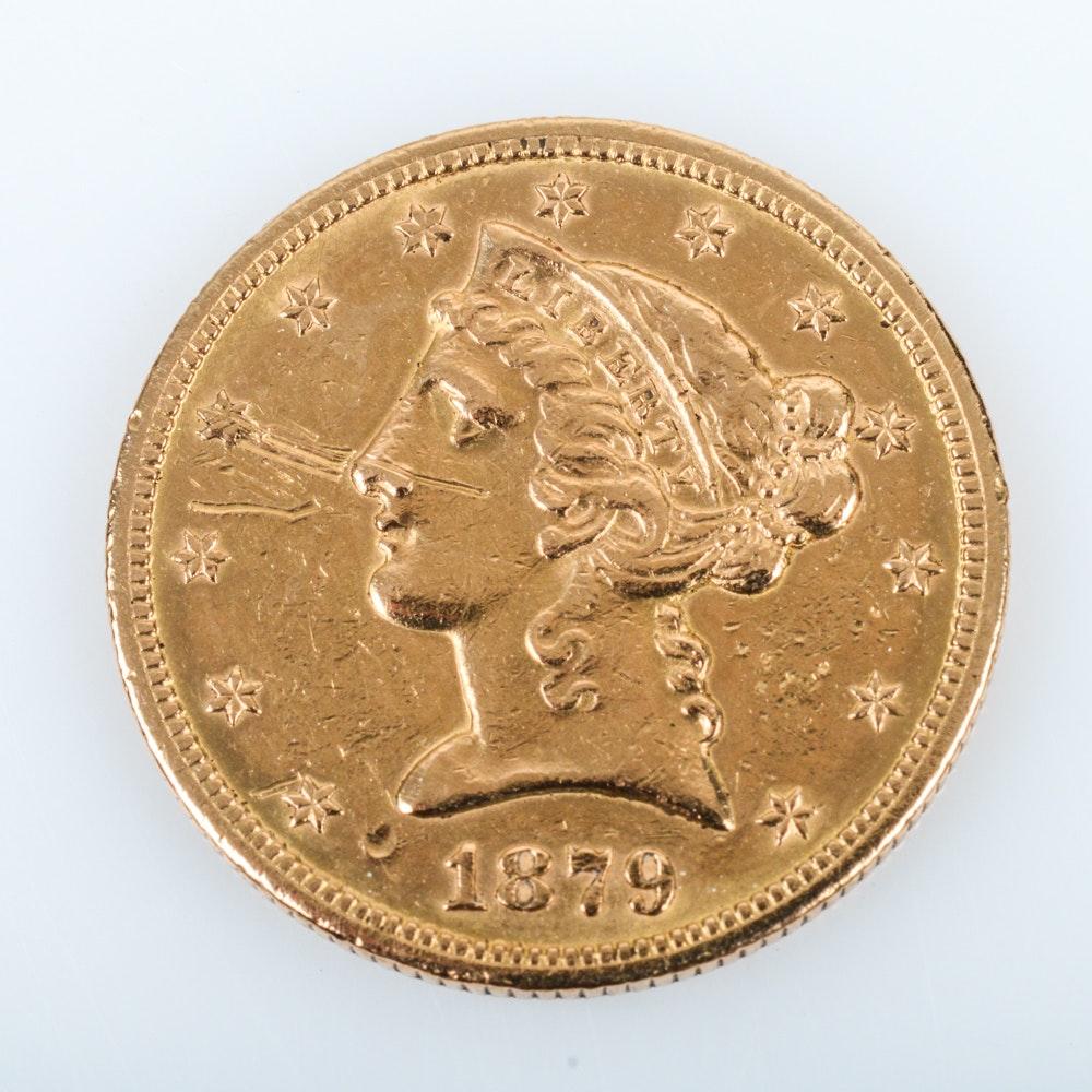 1879-S Coronet Head Gold $5 Half Eagle Coin