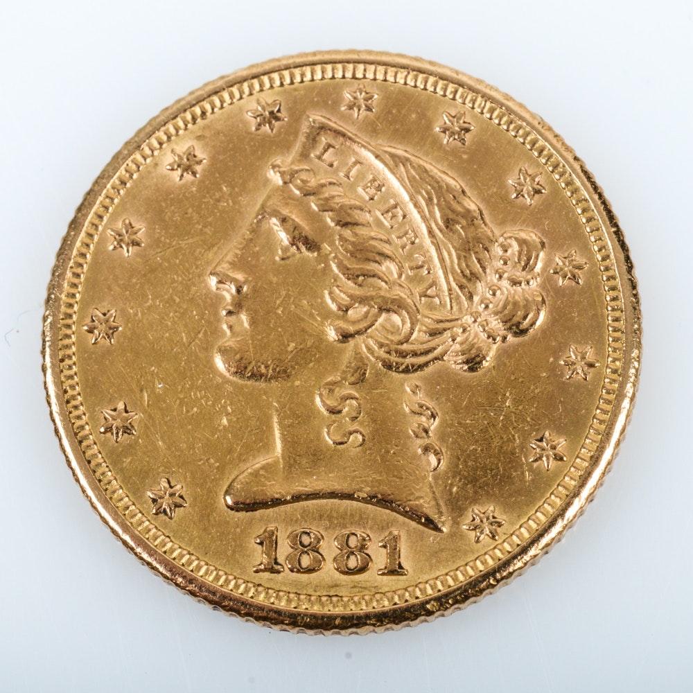 1881 Coronet Head Gold $5 Half Eagle Coin