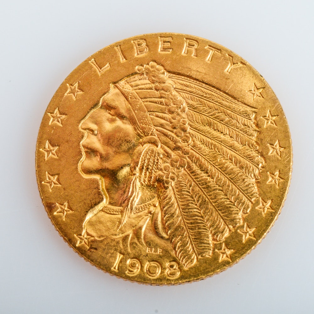 1908 Indian Head Gold $2.50 Quarter Eagle