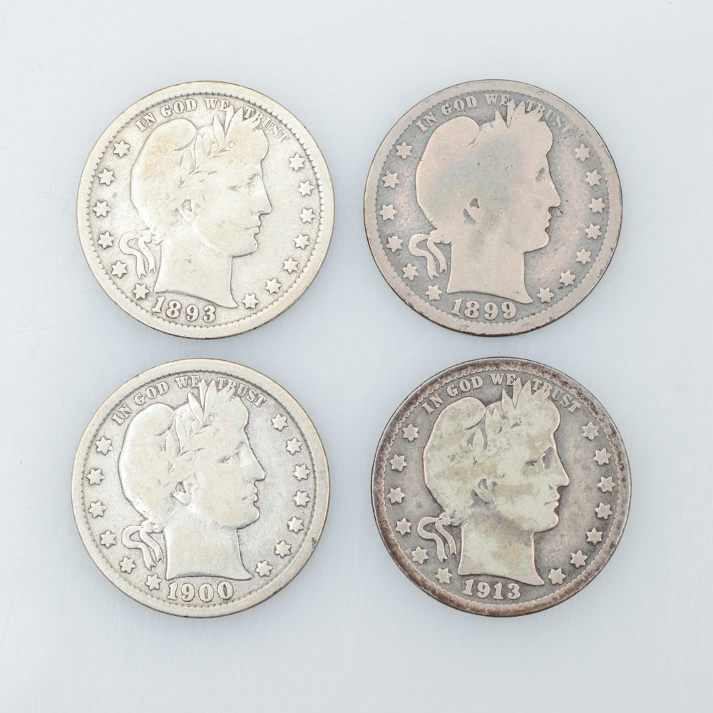 Selection of Barber Silver Quarters
