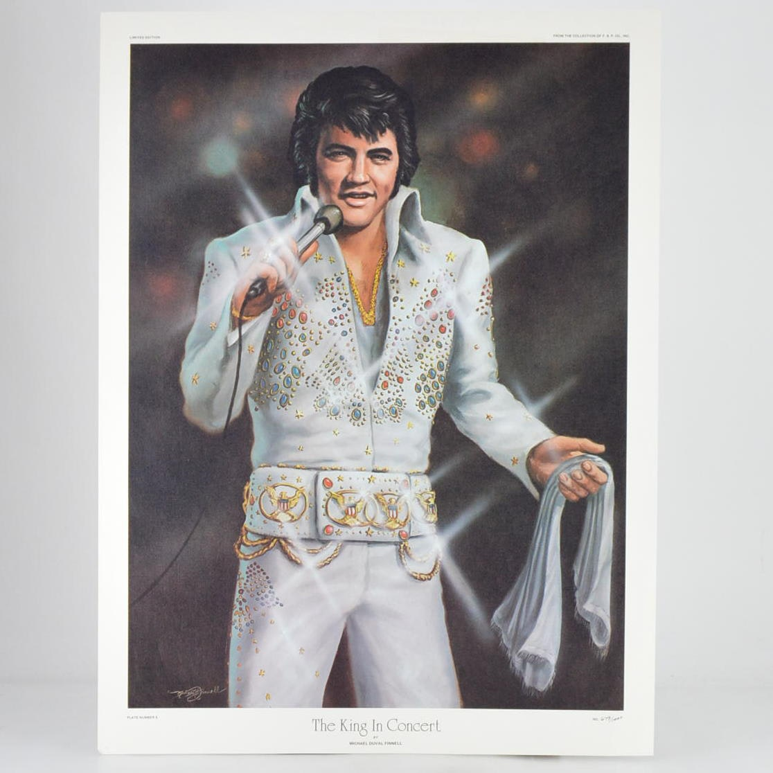"After Michael Duval Finnell Limited Edition Print ""The King in Concert"""
