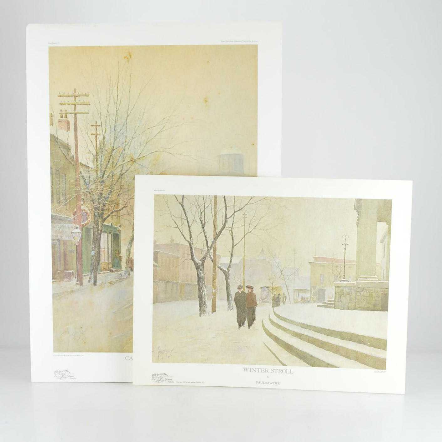 """Paul Sawyier Limited Edition Prints """"Capital in Winter"""" and """"Winter Stroll"""""""