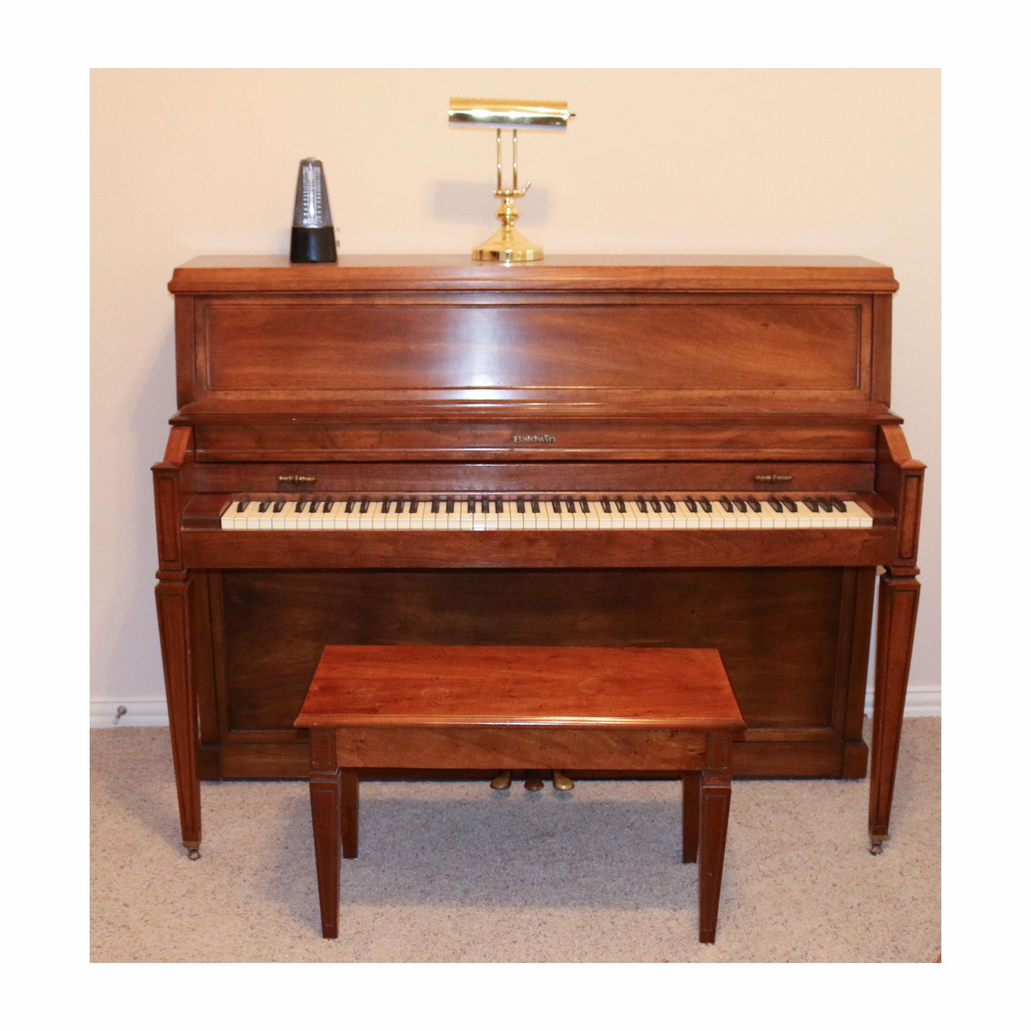 Baldwin Upright Piano and Accessories