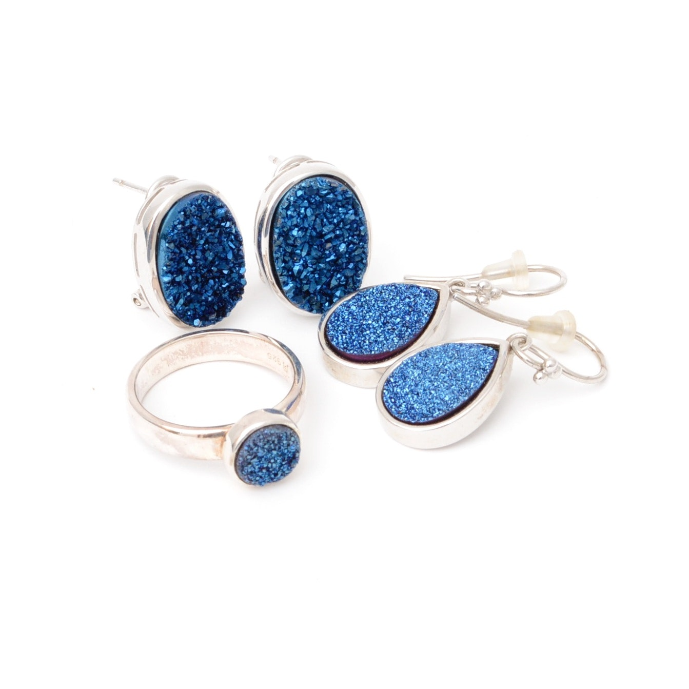 Druzy and Sterling Earrings and Ring