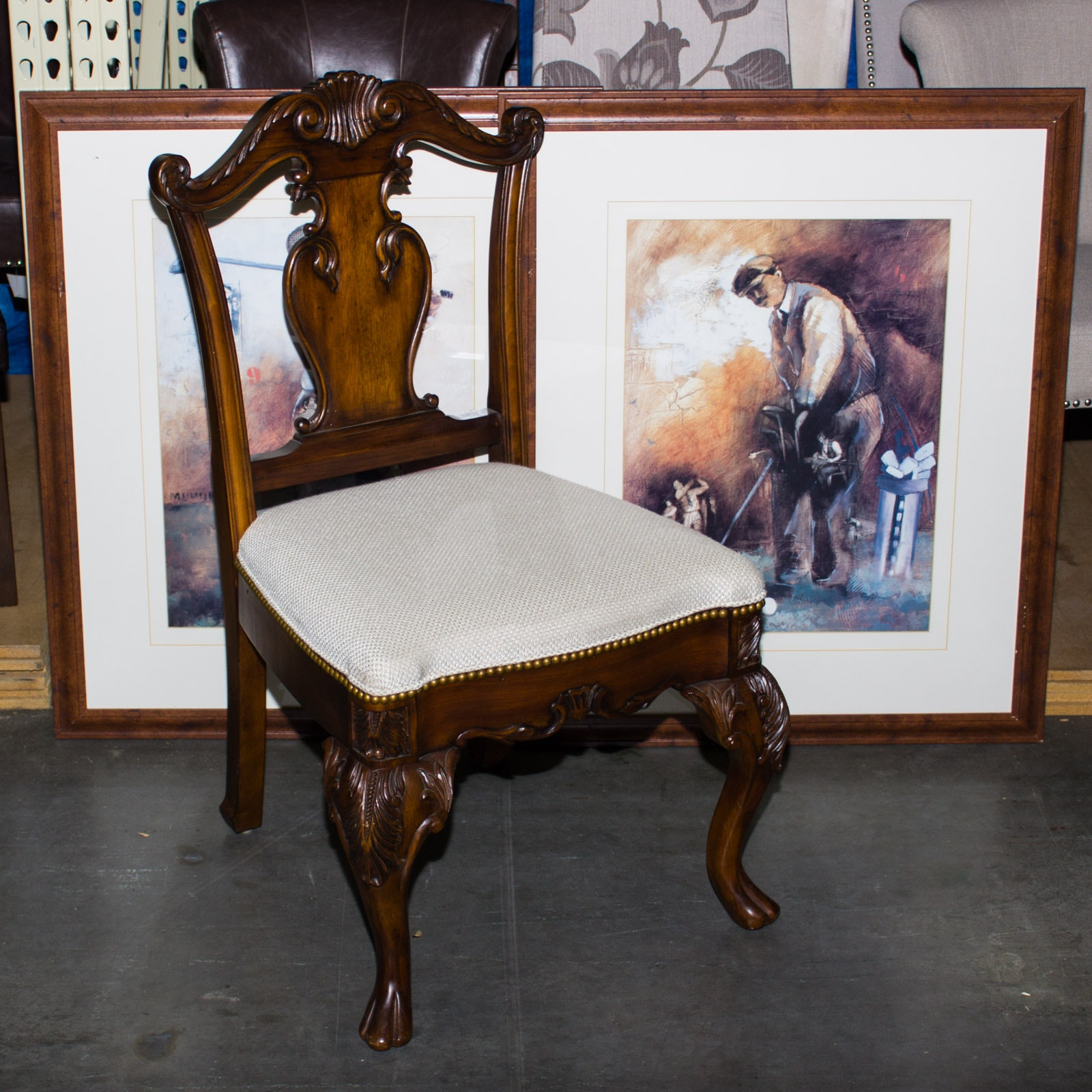 Queen Anne Style Chair and Pair of Framed Golf Offset Lithographs