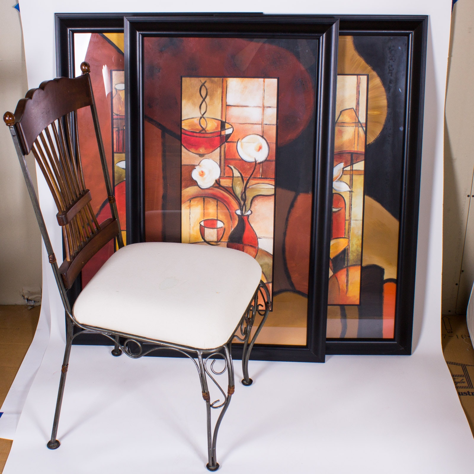Three Framed Offset Lithographs and One Side Chair