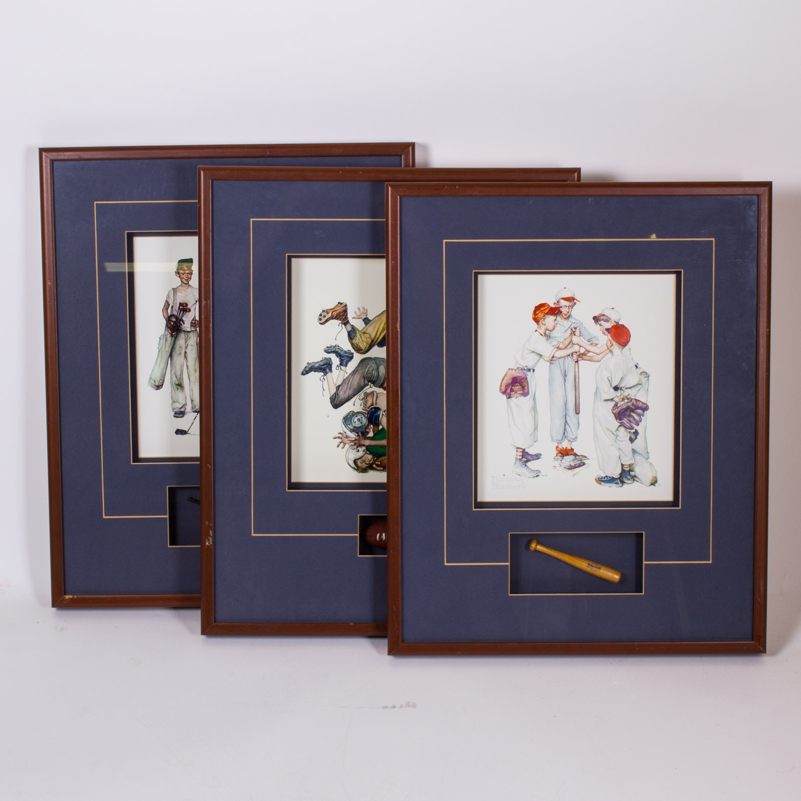 Vintage Style Sports Theme Offset Lithographs in Shadow Box Frames