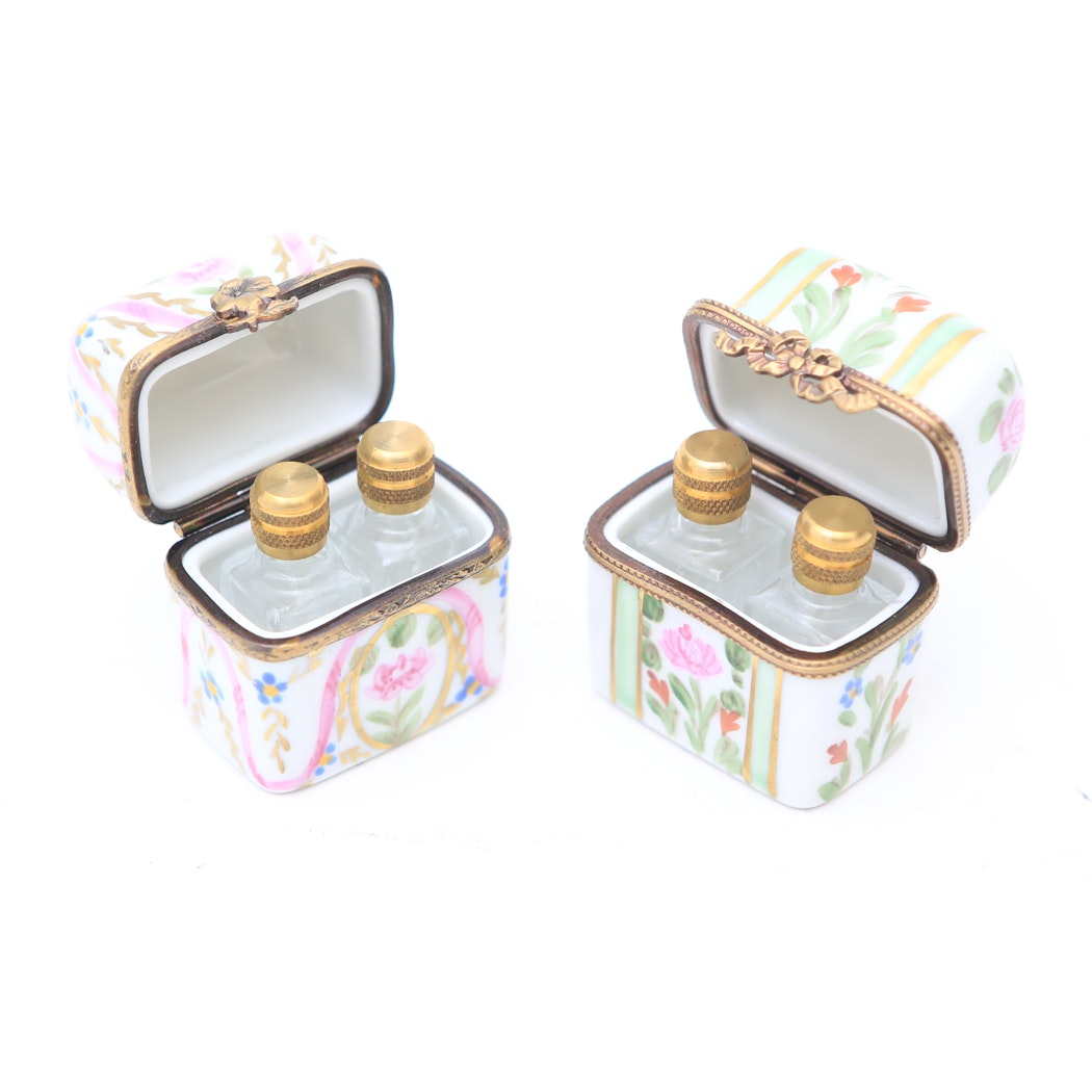 Pair of Limoges Perfume Boxes with Empty Perfume Bottles