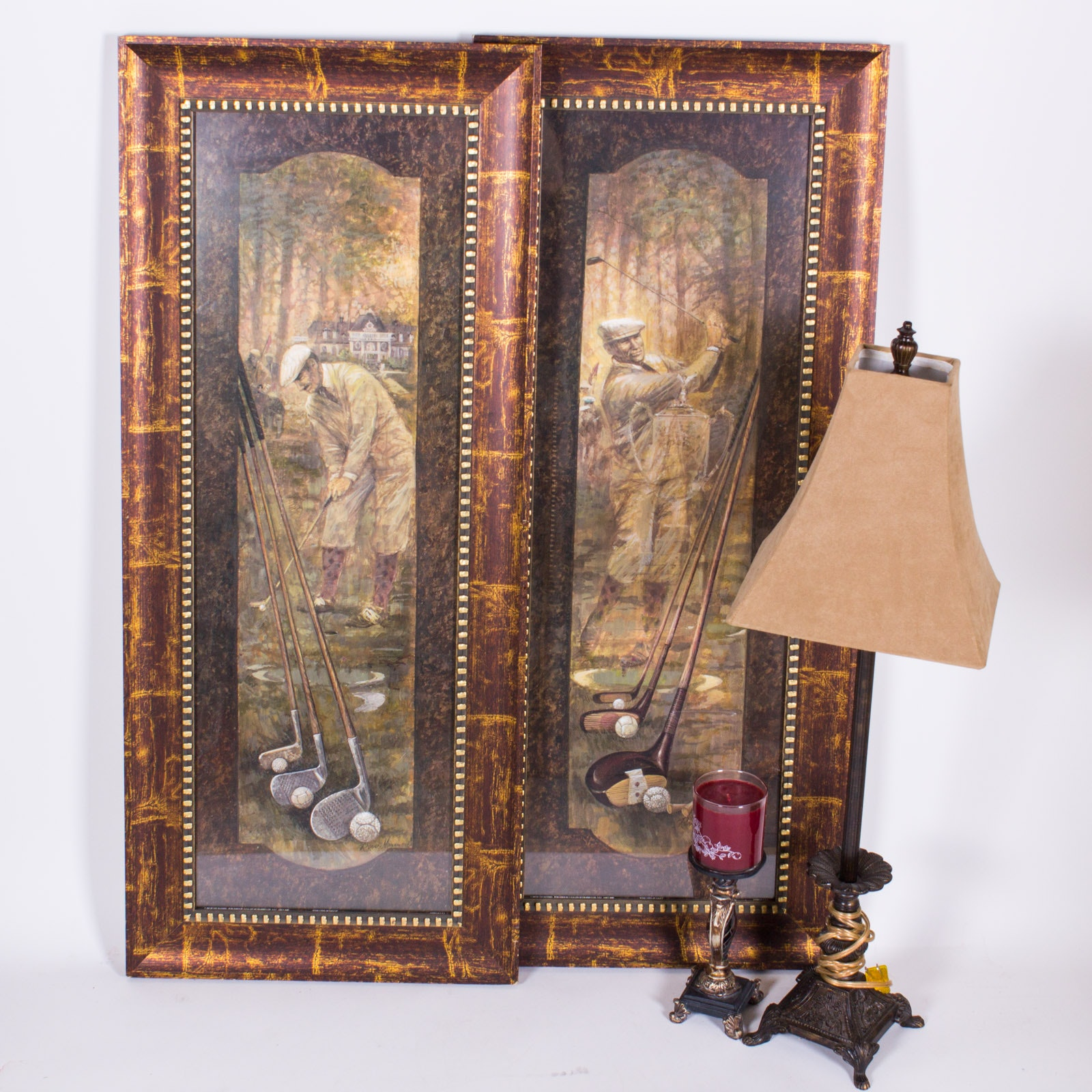 Pair of Framed Golf Offset Lithographs and Table Lamp