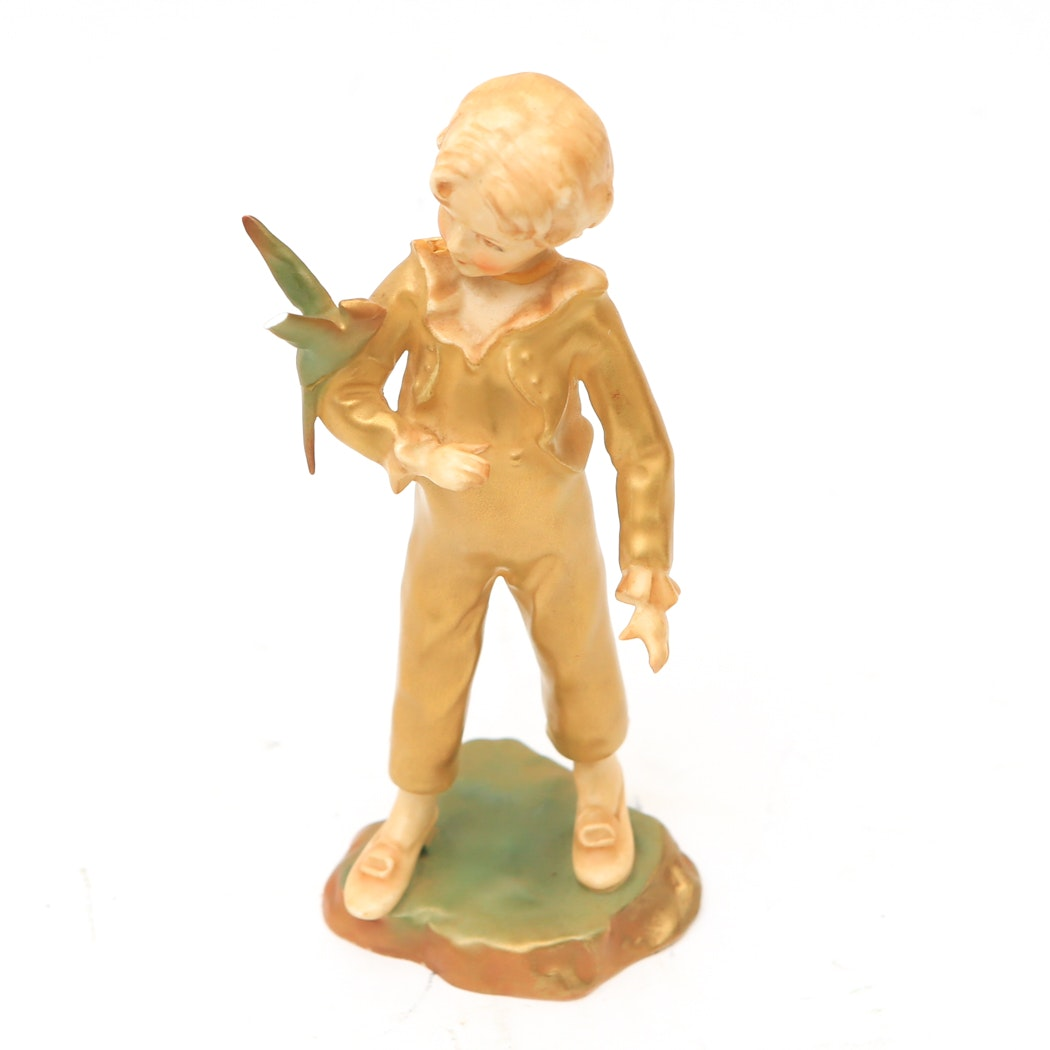 "Royal Worcester Golden ""The Parakeet"" Figurine"