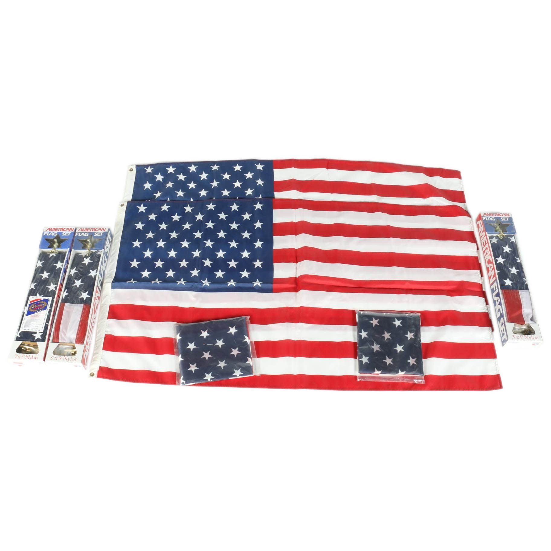 American Flags Including Poles and Mounts